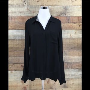 Diane Von Furstenberg Black Sheer Button Up Shirt